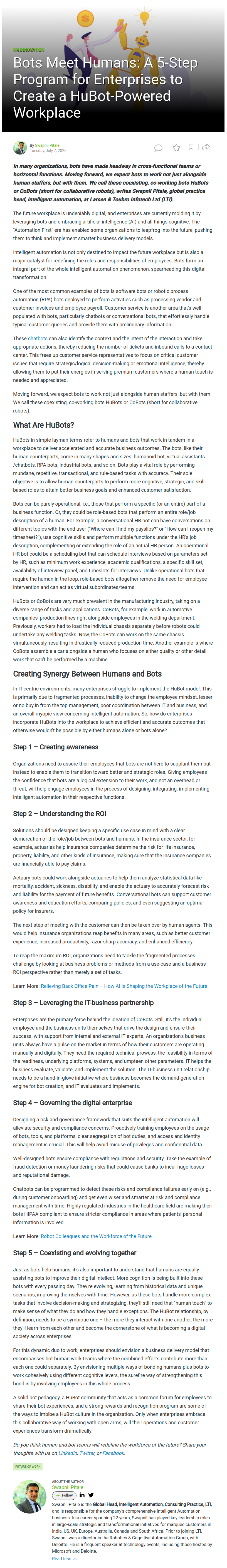 Bots Meet Humans: A 5-Step Program for Enterprises to Create a HuBot-Powered Workplace