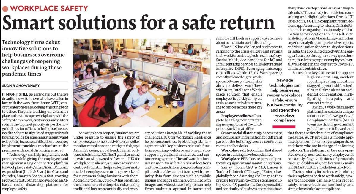 Workplace safety: Smart solutions for a safe return in times of COVID