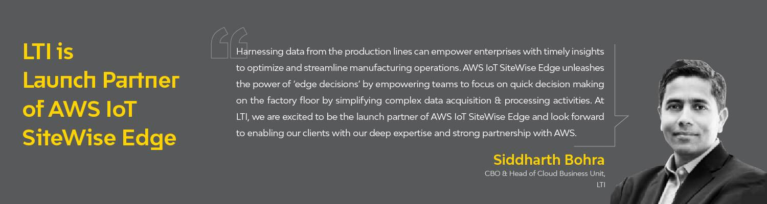 LTI is Launch Partner of AWS IoT SiteWise Edge